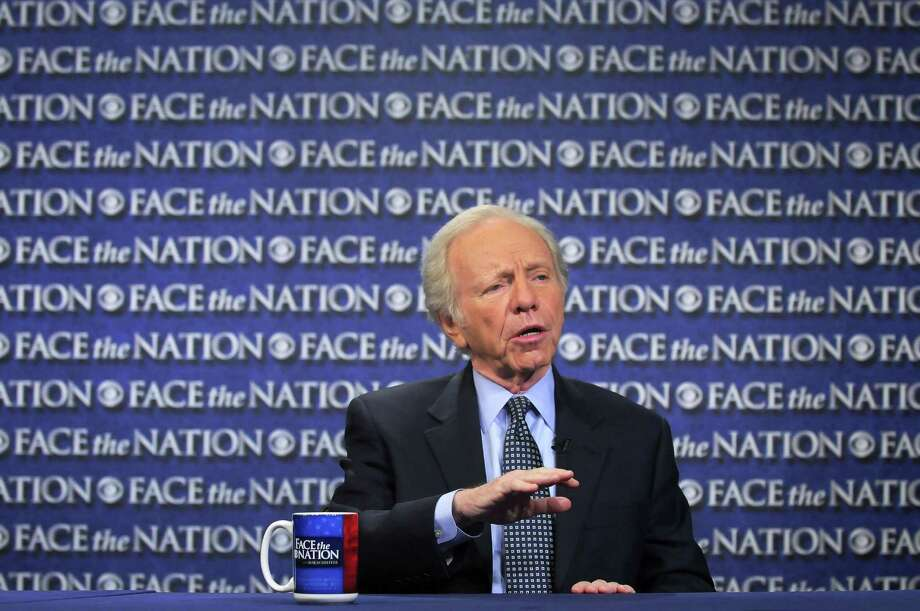 "In this Sunday, April 22, 2012, photo provided by CBS News, then-Sen. Joseph Lieberman, I-Conn., speaks on CBS's ""Face the Nation"" in Washington. Photo: AP Photo/CBS News, Mary F. Calvert  / CBS News"