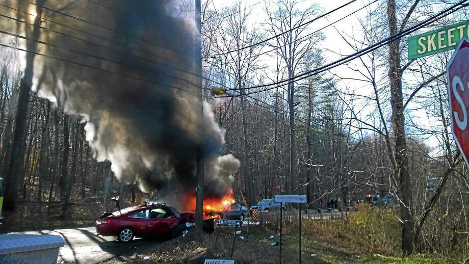 A Wallingford woman helped save two people who were injured Wednesday after a fiery crash on Route 157 in Durham. Photo: Contributed Photo — Christine Mansfield