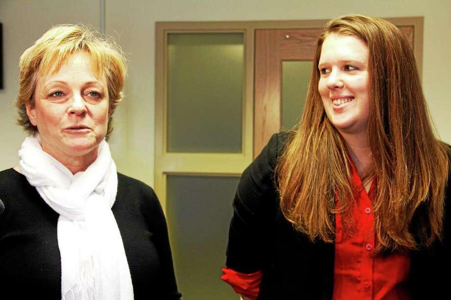 Torrington Mayor Elinor Carbone (left) announces Erin Wilson as the city's new Director of Economic Development Monday. Photo: Esteban L. Hernandez — Register Citizen