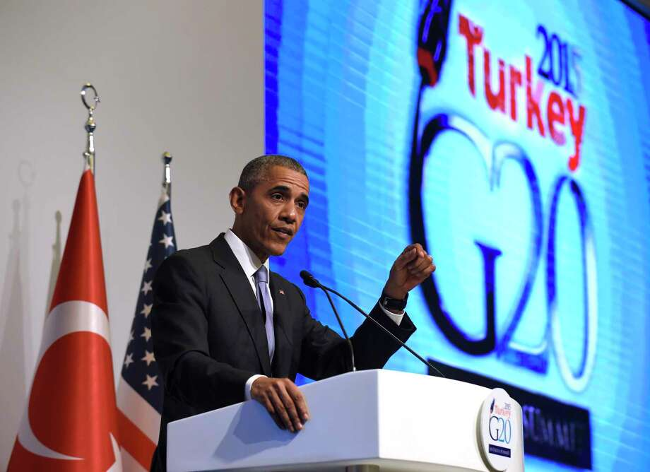 President Barack Obama speaks during a news conference following the G-20 Summit in Antalya, Turkey, Monday, Nov. 16, 2015. (AP Photo/Susan Walsh) Photo: AP / AP