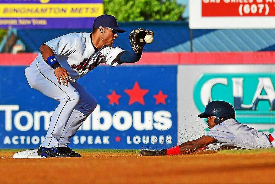 Greenwich native and UConn product L.J. Mazzilli has been hot at the plate as of late with the Binghamton Mets. Photo: Photo Courtesy Of Rick Nelson Photography
