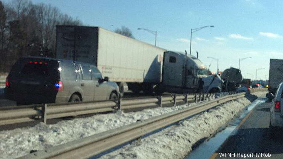 A WTNH ReportIt photo shows a crash between two tractor-trailers on Interstate-91 south in Meriden. The crash closed the highway at exit 17 Monday, Feb. 10, 2014. Photo: WTNH ReportIt Photo