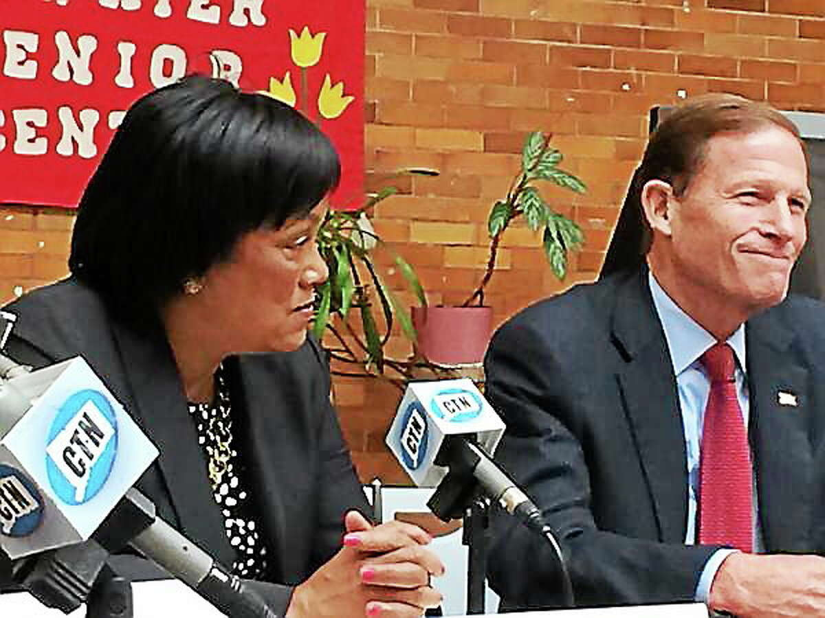 New Haven Mayor Toni Harp and U.S Sen. Richard Blumenthal during a panel discussion with eight healthcare advocates at the Atwater Senior Citizen Center about the state of Medicare in Connecticut