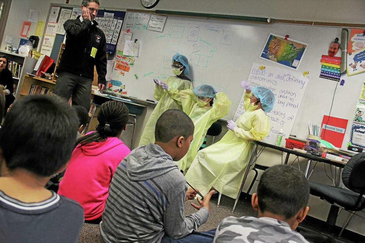A variety of professionals spoke to elementary school students at Bielefield School Friday as part of the second annual Career Day.