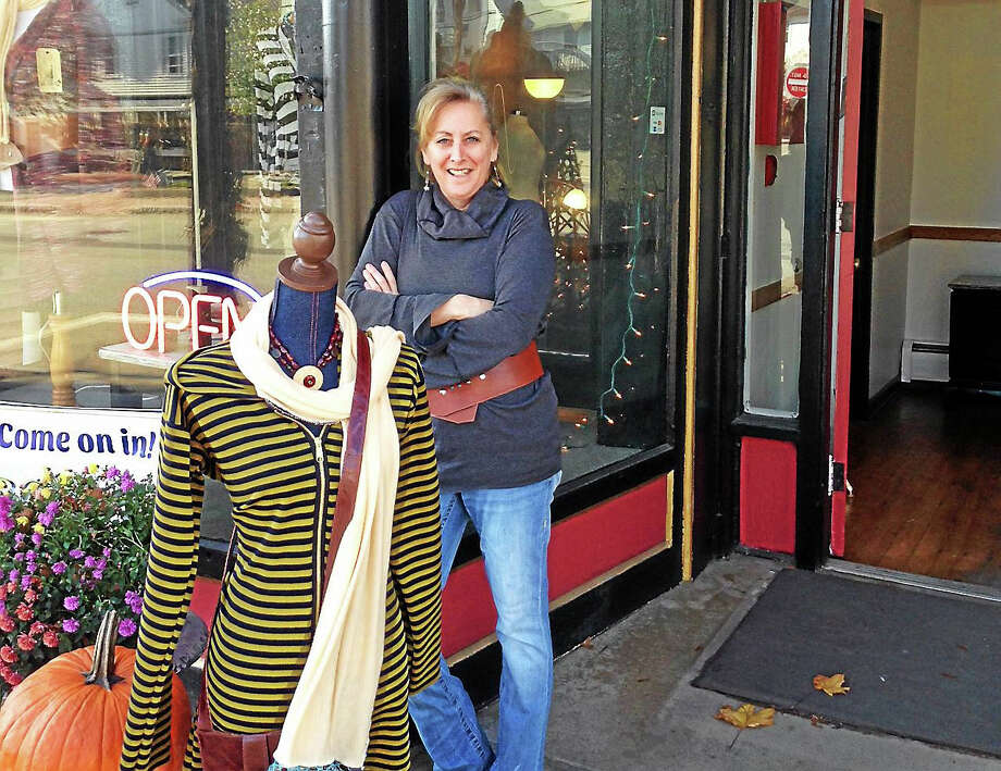 Eileen McNamara of East Hampton is the sole proprietor of a bespoke boutique, The Shop at 70 Main, in the center of town. She's a one-woman designer, marketer and manufacturer, selling handmade dresses and accessories. Photo: Courtesy Photo