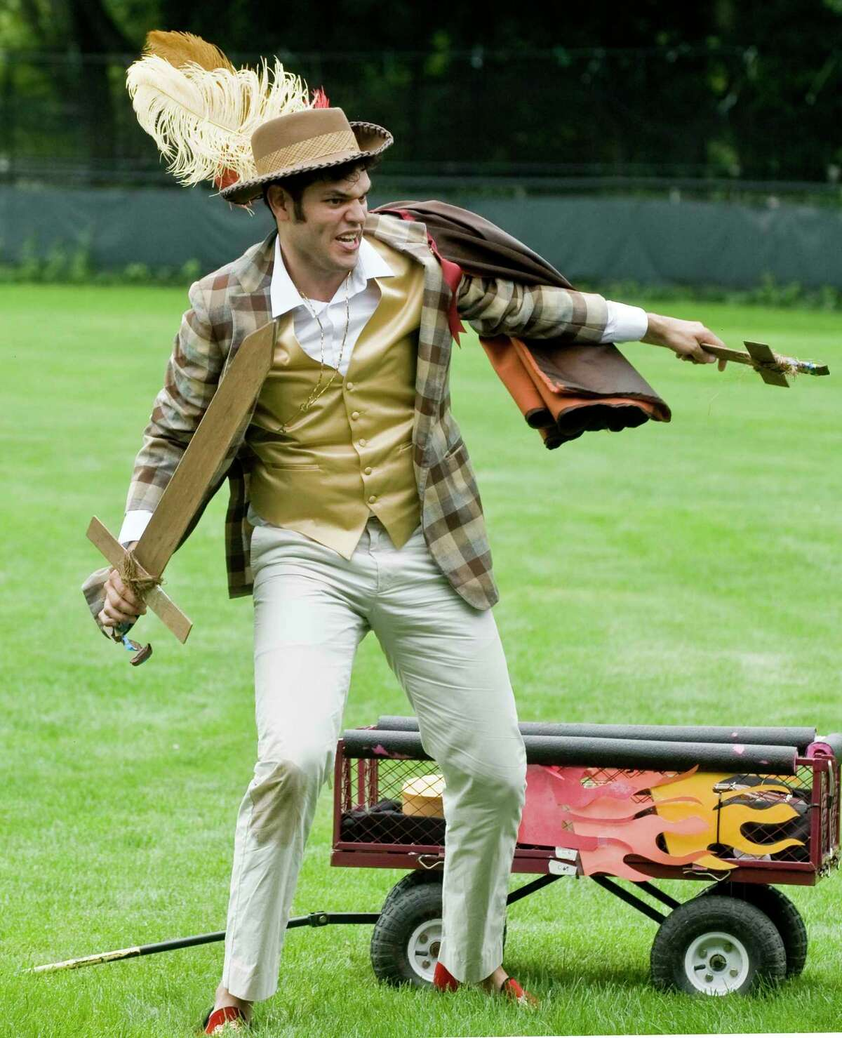 Luis Quintero performing in a scene at the Hudson Valley Shakespeare Festival on the green next to the Ridgefield Playhouse. Saturday, Aug. 12, 2017