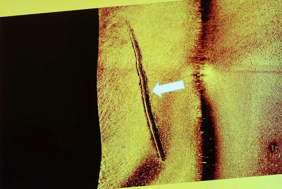 """A photo of a sonar image made available by the Swedish military which they say shows sub-sea tracks left behind by a mini-submarine. Supreme Commander Sverker Goranson said Friday Nov. 14, 2014 the Swedish military has """"clear evidence"""" that a small submarine did illegally enter Swedish waters last month, sparking a week-long hunt in Stockholm's archipelago. (AP Photo/Swedish Armed Forces) Photo: AP / Swedish Military"""