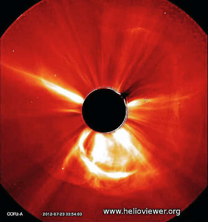 NASA's Solar Terrestrial Relations Observatory-Ahead recorded images of a coronal mass ejection on the sun from 10 p.m. ET July 22, 2012 to 2 a.m. ET July 23, 2012. Photo: Image Source: NASA Solar Terrestrial Relations Observatory  / NASA/STEREO