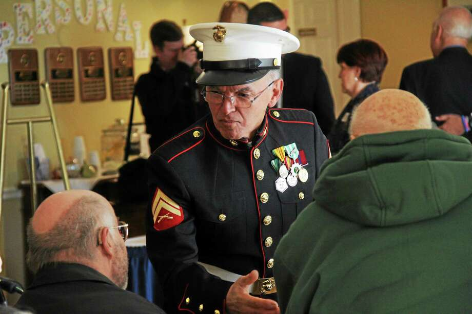 "A ""We Honor Veterans"" ceremony attended by dignitaries was held to thank residents of the Village at South Farms retirement home who had served in wars Wednesday in Middletown. Photo: Kathleen Schassler — Middletown Press   / Kathleen Schassler All Rights"