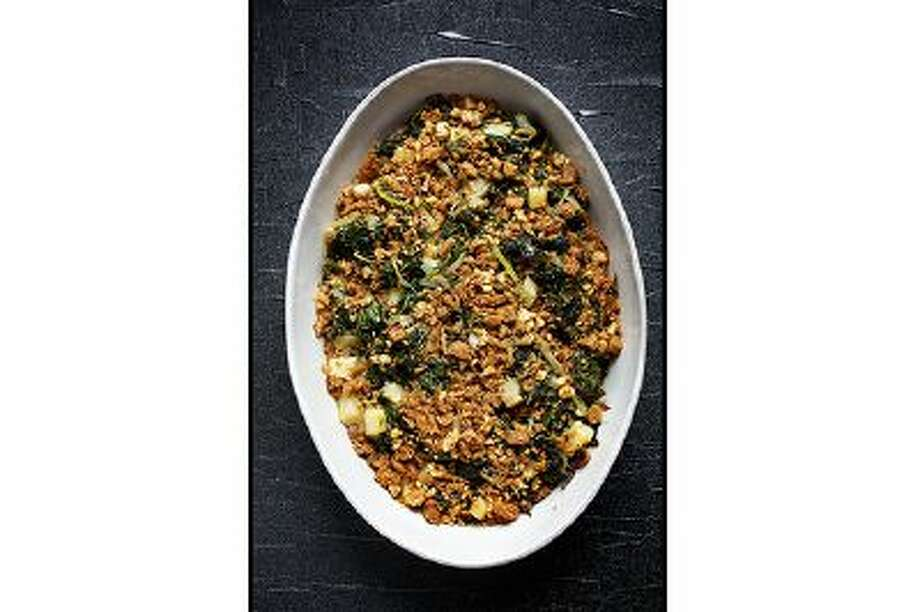 Celery Root-Kale Gratin With Walnut Bread Crumbs. Photo: The Washington Post / THE WASHINGTON POST