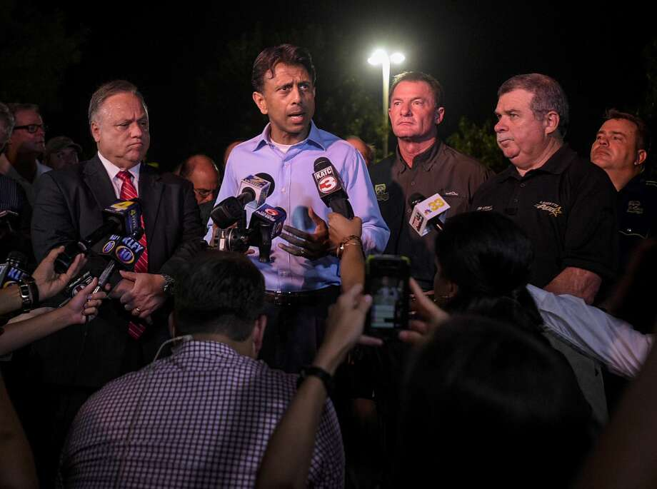 Louisiana Gov. Bobby Jindal speaks with the media as he provides an update on the deadly shooting at the Grand Theatre in Lafayette, La., Thursday, July 23, 2015. Photo: Paul Kieu/The Daily Advertiser Via AP / The Advertiser