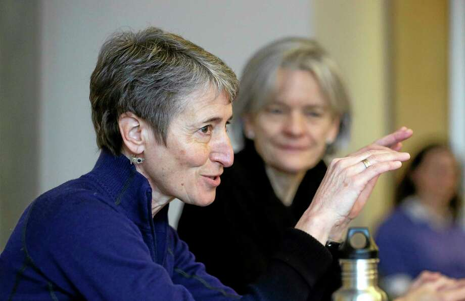 U.S. Interior Secretary Sally Jewell leads a roundtable discussion at the University of Washingtonís College of the Environment, Tuesday, Feb. 4, 2014, in Seattle. As part of President Obamaís Climate Action Plan to cut carbon pollution, develop domestic clean energy sources and create American jobs, the gathering focused on climate change impacts to the Pacific Northwest. (AP Photo/Elaine Thompson) Photo: AP / AP