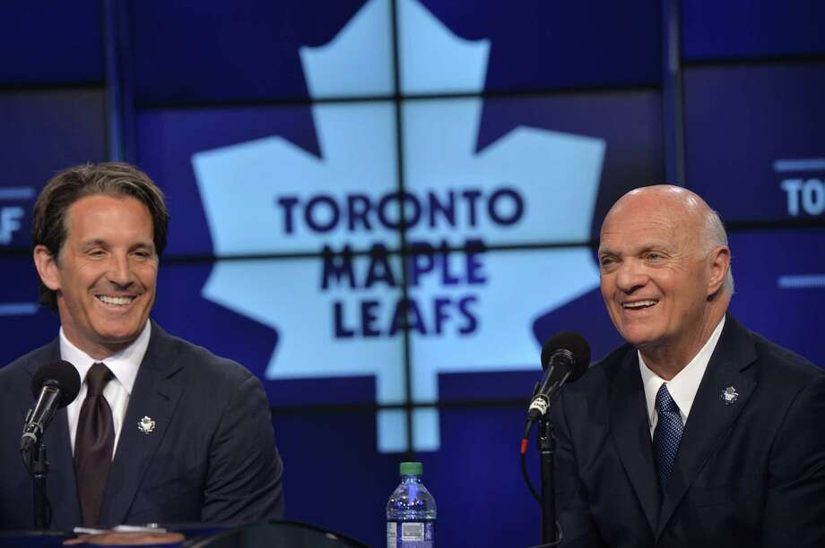 Toronto president Brendan Shanahan, left, announced Lou Lamoriello as the new general manager of the Maple Leafs on Thursday in Toronto. Photo: Galit Rodan — The Canadian Press  / CP