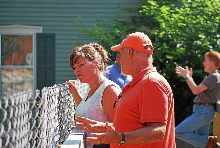 State Rep. Melissa Ziobron checks out the progress of work being done on the Route 82 bridge in East Haddam. Photo: Courtesy Photo