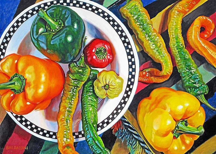 "Image courtesy of the artist ""Ten Peppers,"" oil. Photo: Journal Register Co."