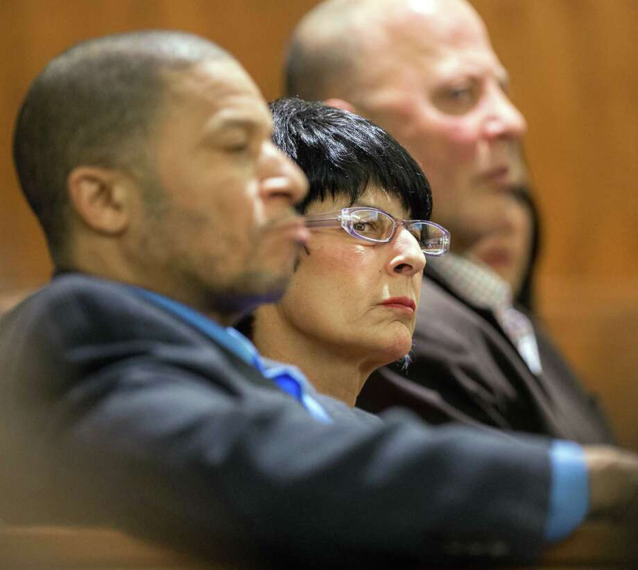 Terri Hernandez, right, listens during the trial of her son, former New England Patriot Aaron Hernandez, on Tuesday in Fall River, Mass. Photo: Ted Fitzgerald — The Boston Herald  / POOL The Boston Globe