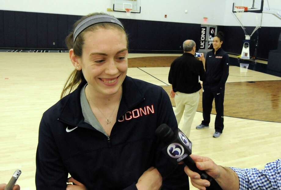 UConn's Breanna Stewart speaks to the media after the NCAA tournament selection show on Monday in Storrs. Photo: Michael McAndrews — The Hartford Courant  / The Hartford Courant