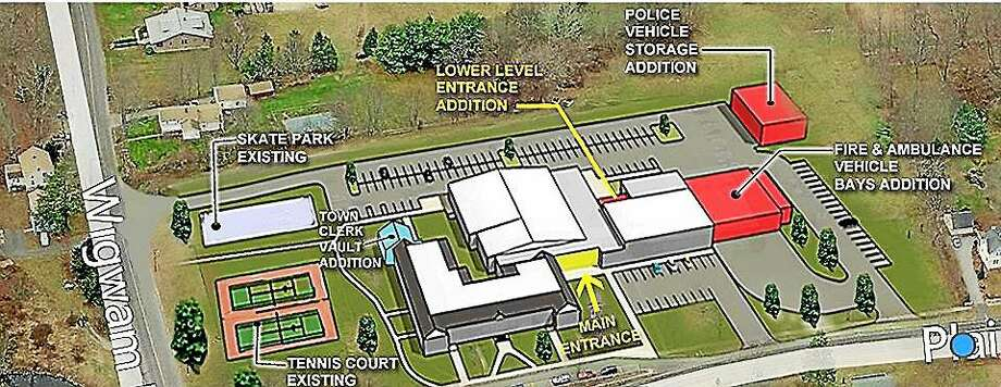 Plans detail a proposed conversion of the old middle school to municipal offices and public safety complex in East Haddam. Photo: Courtesy Photo