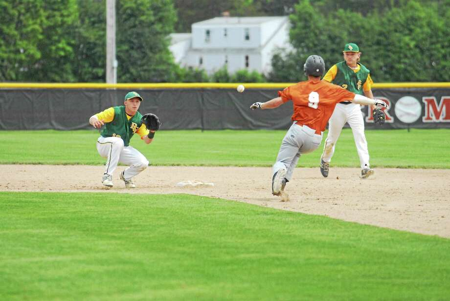 RCP shortstop Christian Budzik waits for the throw from first as second baseman Cory Baldwin looks on. Windsor Locks' Troy Hastings (9) was called out on the third inning pick-off play. Photo: Jimmy Zanor — Middletown Press