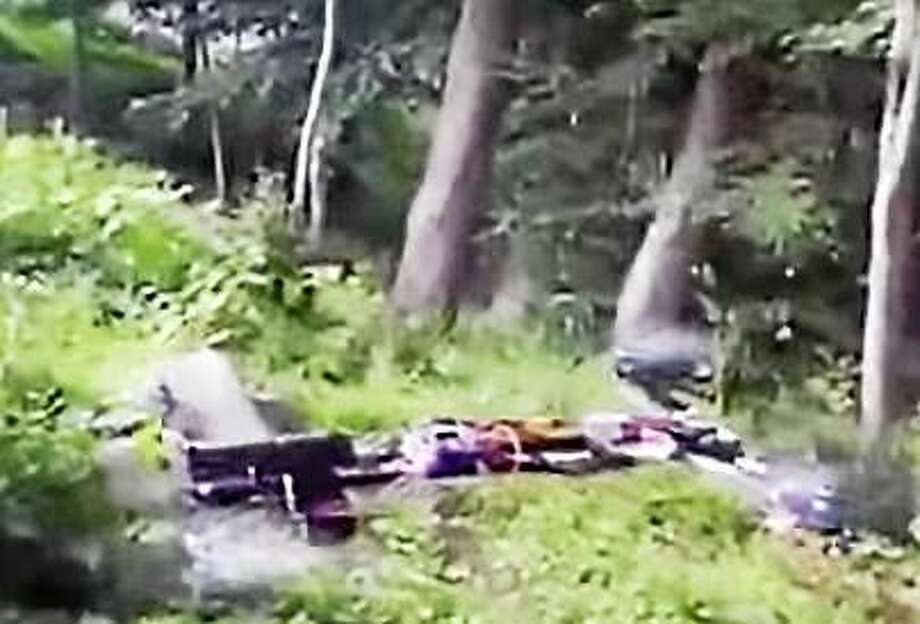 Screenshot of video that shows shots being fired from a drone in a wooded area. Photo: Journal Register Co.