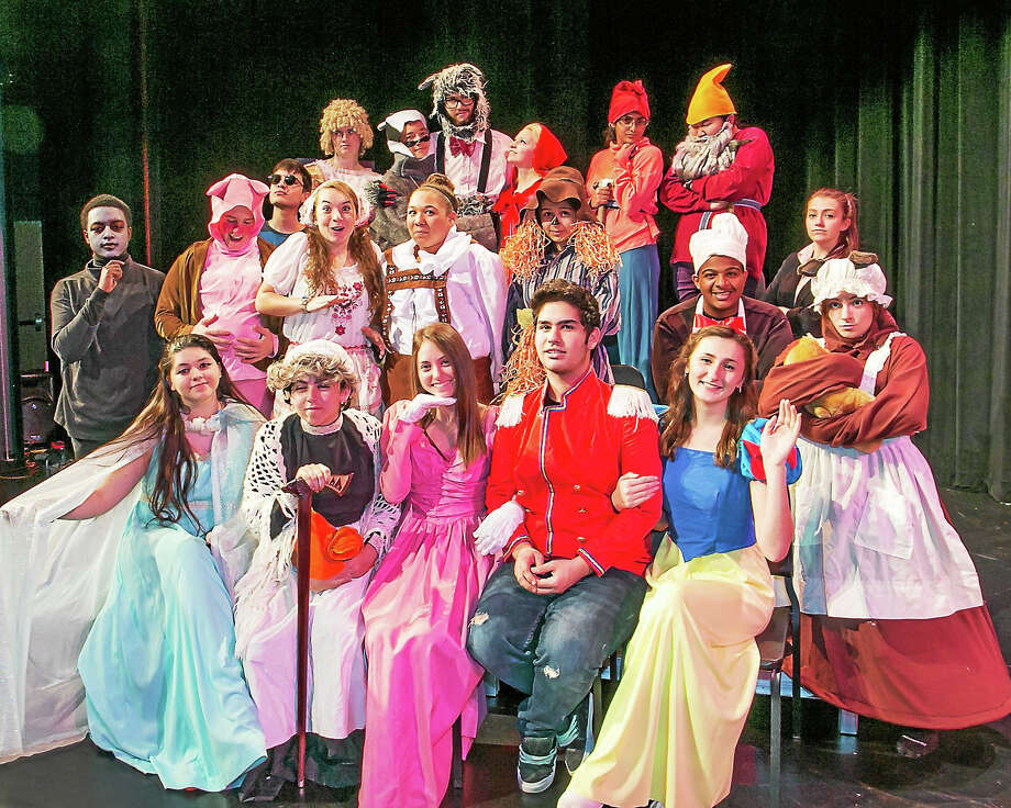 "The cast performing in Middletown High School's production of '""Fairy Tale Courtroom.""   Front row, from left: Sam Satagaj (Fairy God Mother), Arianna Bailes (Granny), Maddy Connelly (Sleeping Beauty), Furkan Ince (Prince), and Courtney Jandreau (Snow White). Second row, from left: Johnny Middleton (Magic Mirror), Kyle Monarca (Pig), Kayla Little (Gretel), Tara Hightower (Hansel), Sonya Hadley (Scarecroew), Tony Petruzello (Chef), and Carolyn Reid (Mama Bear). Back row, from left: Nathan Chapeton (Boy Who Cried Wolf), Terri Potvin (Goldie Locks), Dallas Dorman (Badger), Jonathan Haller (Big Bad Wolf), Gwen (Lil' Red), Simran Thaku (Dwarve), and Dori Yarmolowitz (Dwarve). Photo: Sandy Aldieri — Special To The Press"