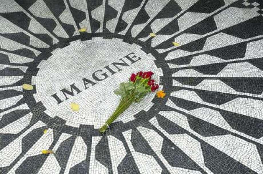 The Strawberry Fields John Lennon memorial in Central Park, New York