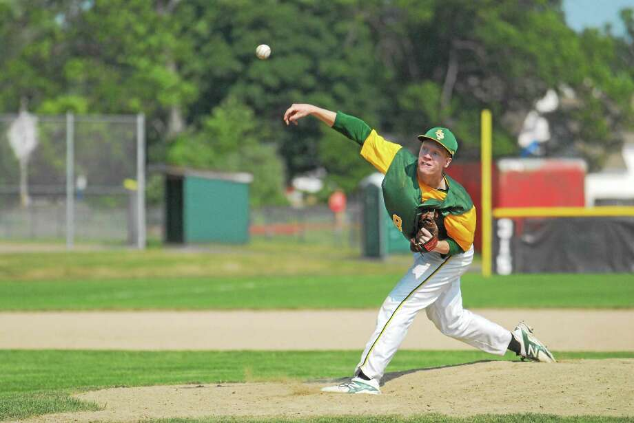 Jake Regula tossed eight shutout innings with 19 strikeouts in RCP's tourney opening win against Windsor Locks. Photo: Jimmy Zanor — Middletown Press
