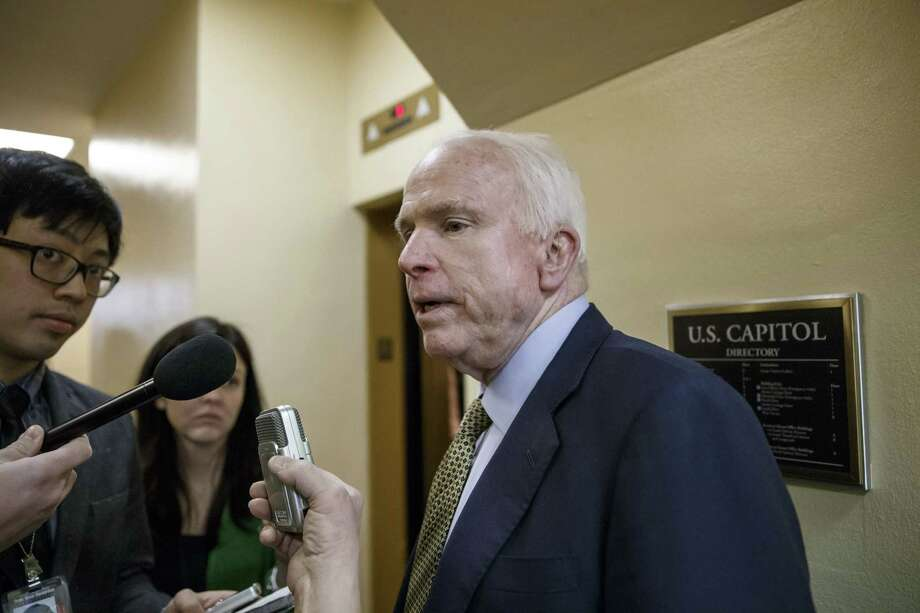 In this March 2, 2015 photo, Sen John McCain, R-Ariz., speaks to reporters as he heads to the Senate chamber at the Capitol in Washington. Senate Democrats threatened to torpedo bipartisan legislation combatting human sex trafficking on March 11, in a dispute over Republican-backed abortion provision they said they had failed to notice for nearly two months. Photo: AP Photo/J. Scott Applewhite, File  / AP