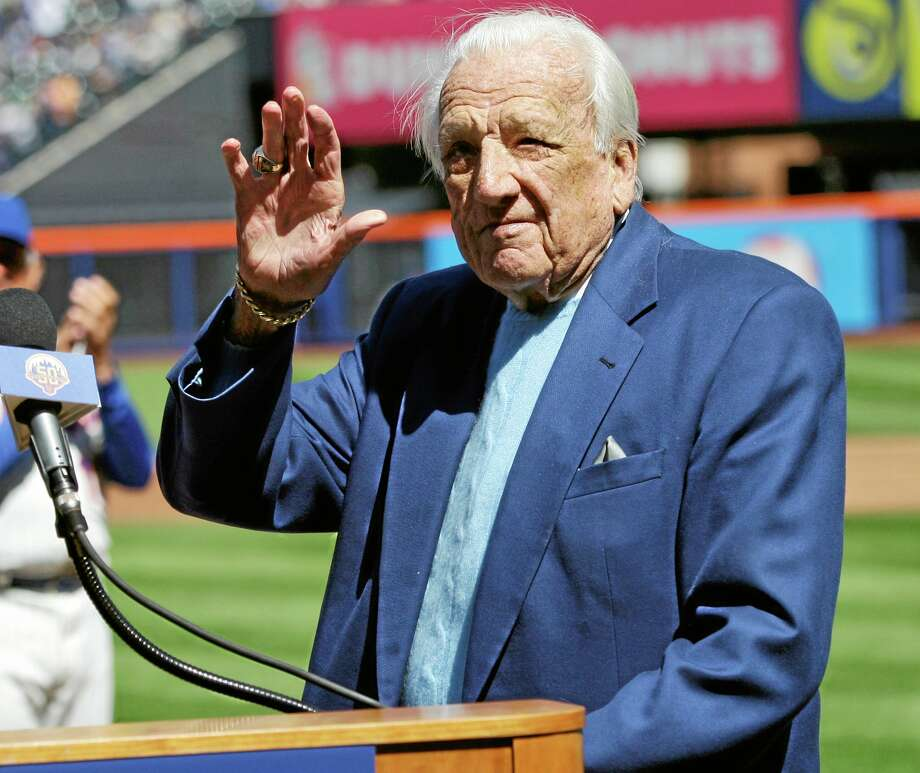 In this April 5, 2012 file photo, Mets broadcaster Ralph Kiner waves to the crowd before announcing the New York Mets' starting lineup on Opening Day. The Hall of Fame says slugger Ralph Kiner has died. He was 91. The Hall says Kiner died Thursday at his home in Rancho Mirage, Calif. Photo: Frank Franklin II — The Associated Press  / AP