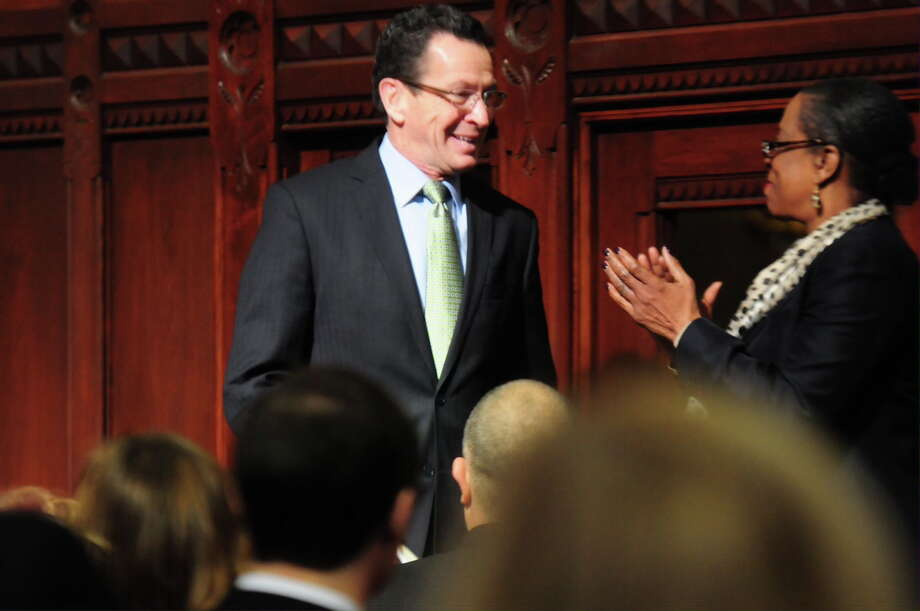 Gov. Dannel P. Malloy before delivering the State of the State address Thursday. Photo: Peter Hvizdak — New Haven Register