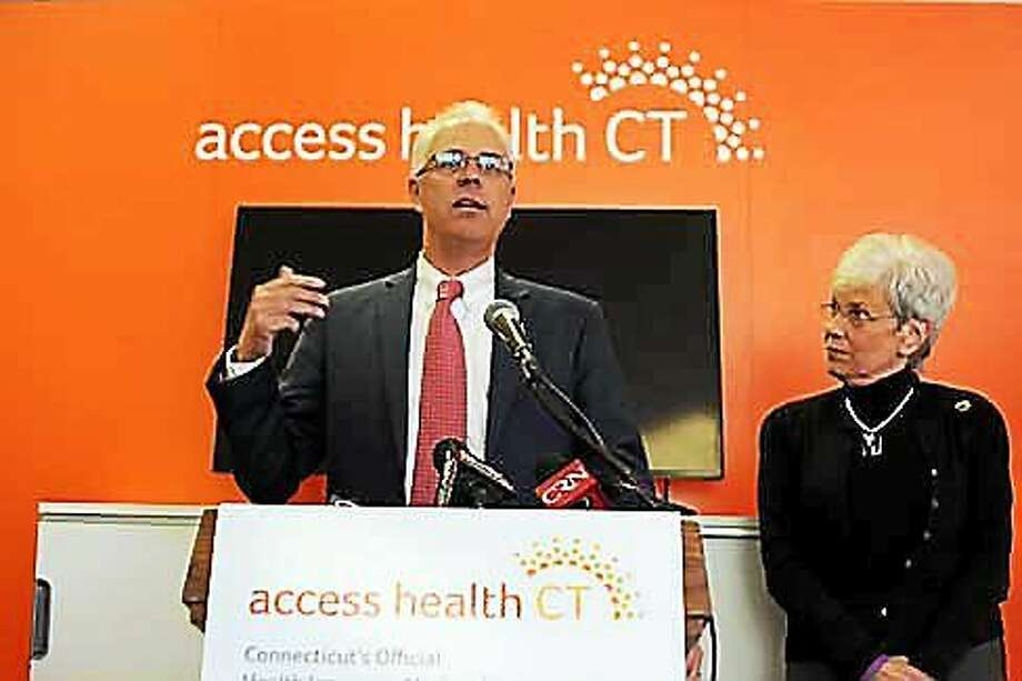 James Wadleigh, CEO of Access Health CT, and Lt. Gov. Nancy Wyman, who chairs the Access Health CT Board of Directors Photo: (Christine Stuart — Ctnewsjunkie.com)