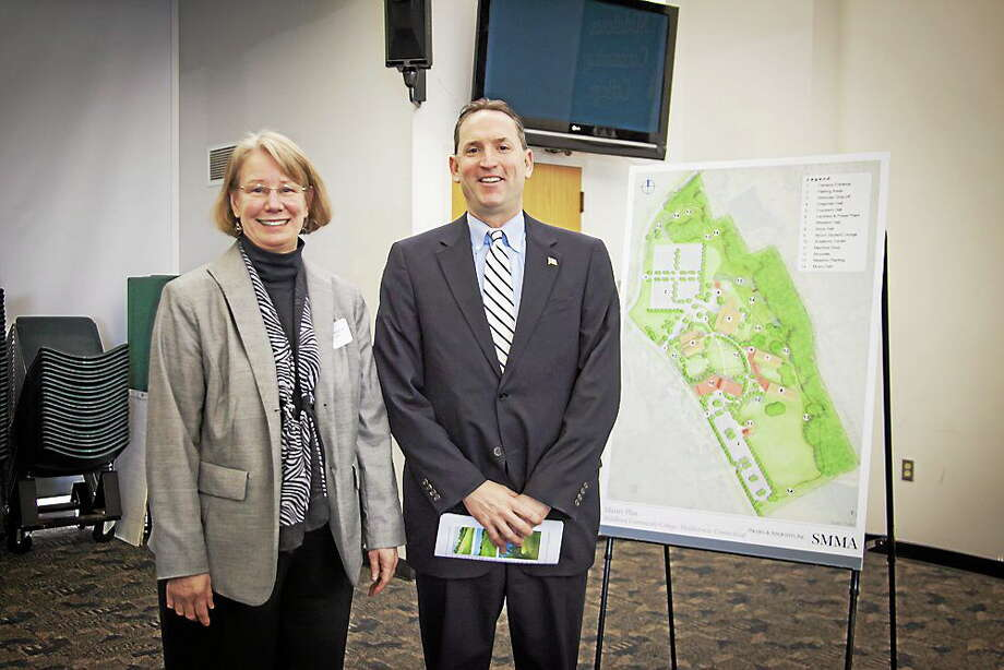 State Sen. Paul Doyle joined Middlesex Community College President Anna Waschesa at the college's fourth annual legislative breakfast Feb. 4. The college unveiled a rendering of its new master campus plan, pictured here, which greatly emphasizes sustainability and community. Photo: Submitted Photo