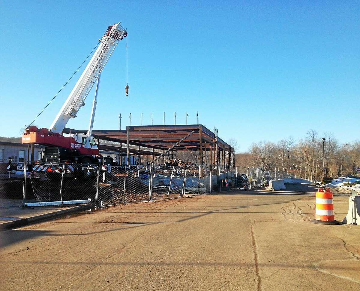 The East Hampton High School renovation is underway.