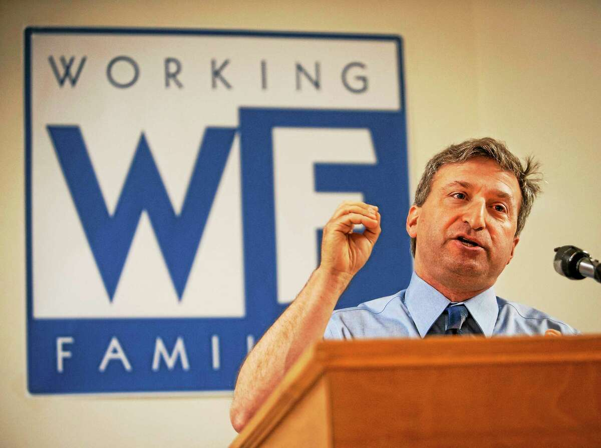 Gubernatorial candidate, Jonathan Pelto, addresses the audience at the Connecticut Working Families State Forum June 21. The event was held at the Carpenters Local 24 Union Hall in Wallingford.