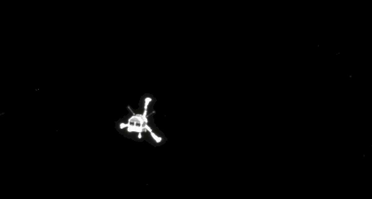 The picture of the Philae lander released by the European Space Agency ESA on Wednesday, Nov. 12, 2014 was taken by Rosetta's OSIRIS system shortly after its separation from the mother spaceship. On Wednesday, Nov. 12, 2014 the Philae lander detached from Rosetta and started it's descent to the 4-kilometer-wide (2.5-mile-wide) 67P/Churyumov-Gerasimenko comet. (AP Photo/ESA)