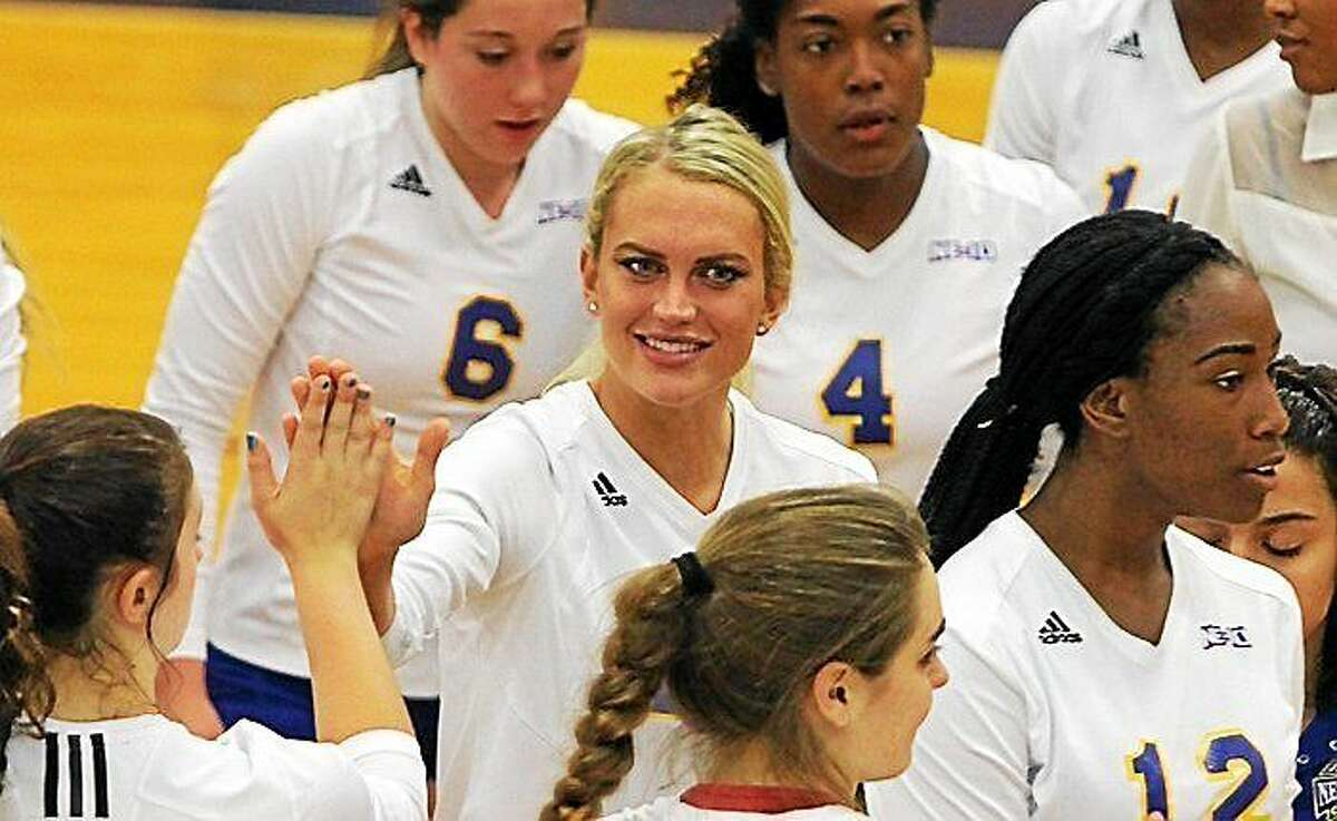 Courtesy University of New Haven Women's Volleyball Ashley Dalton made her UNH team debut on Oct. 31.