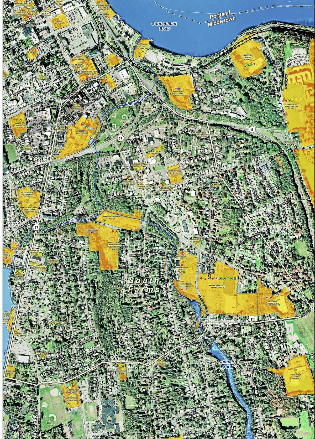 A map submitted with the grant listing the potential brownfield properties in Middletown.