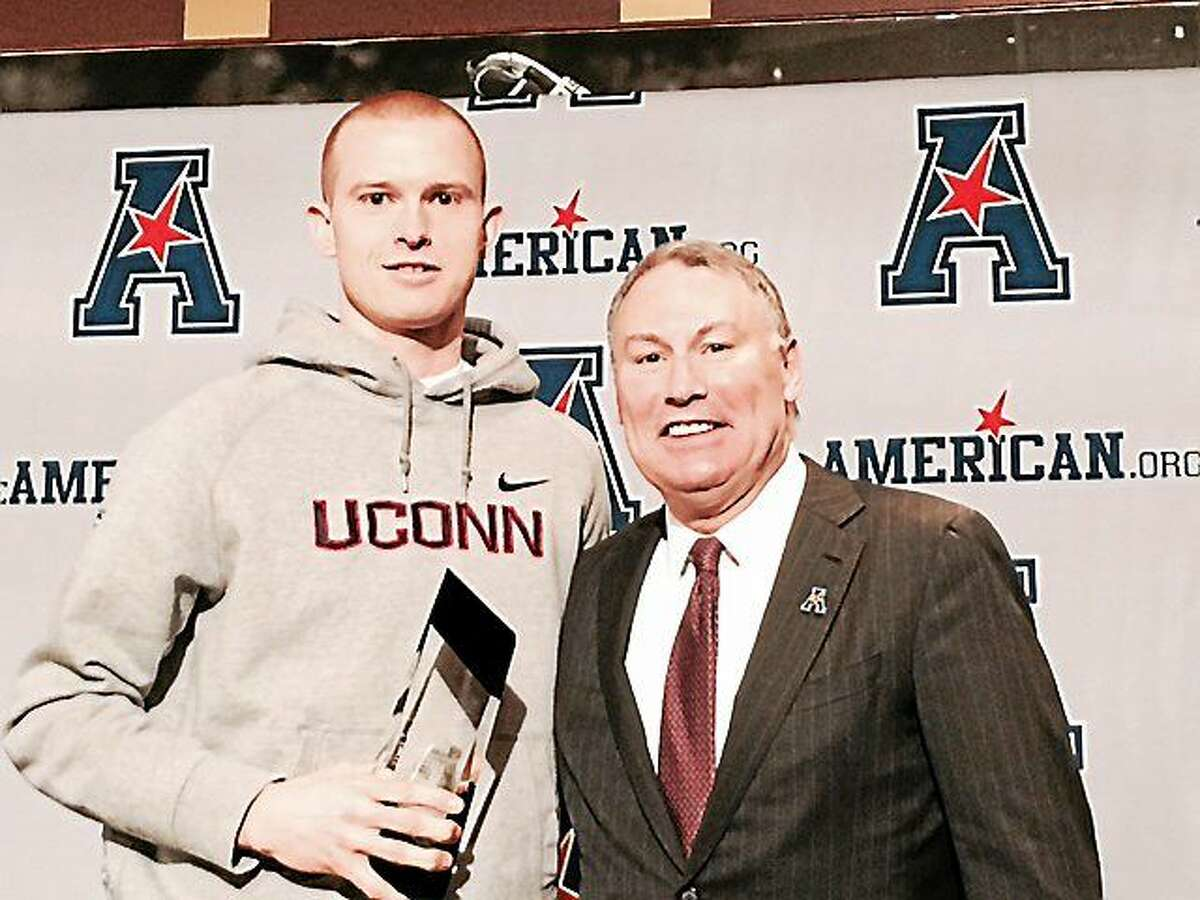 UConn's Pat Lenehan and AAC commissioner Mike Aresco.