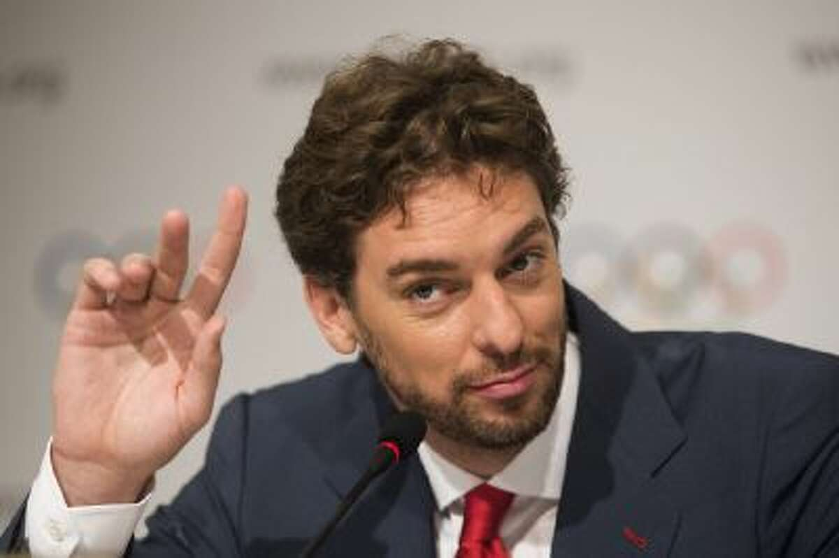 NBA player Pau Gasol of Spain speaks during a news conference after Madrid's Olympic bid presentation in Buenos Aires, Argentina, Saturday, Sept. 7, 2013. Madrid, Istanbul and Tokyo are competing to host the 2020 Summer Olympic Games.