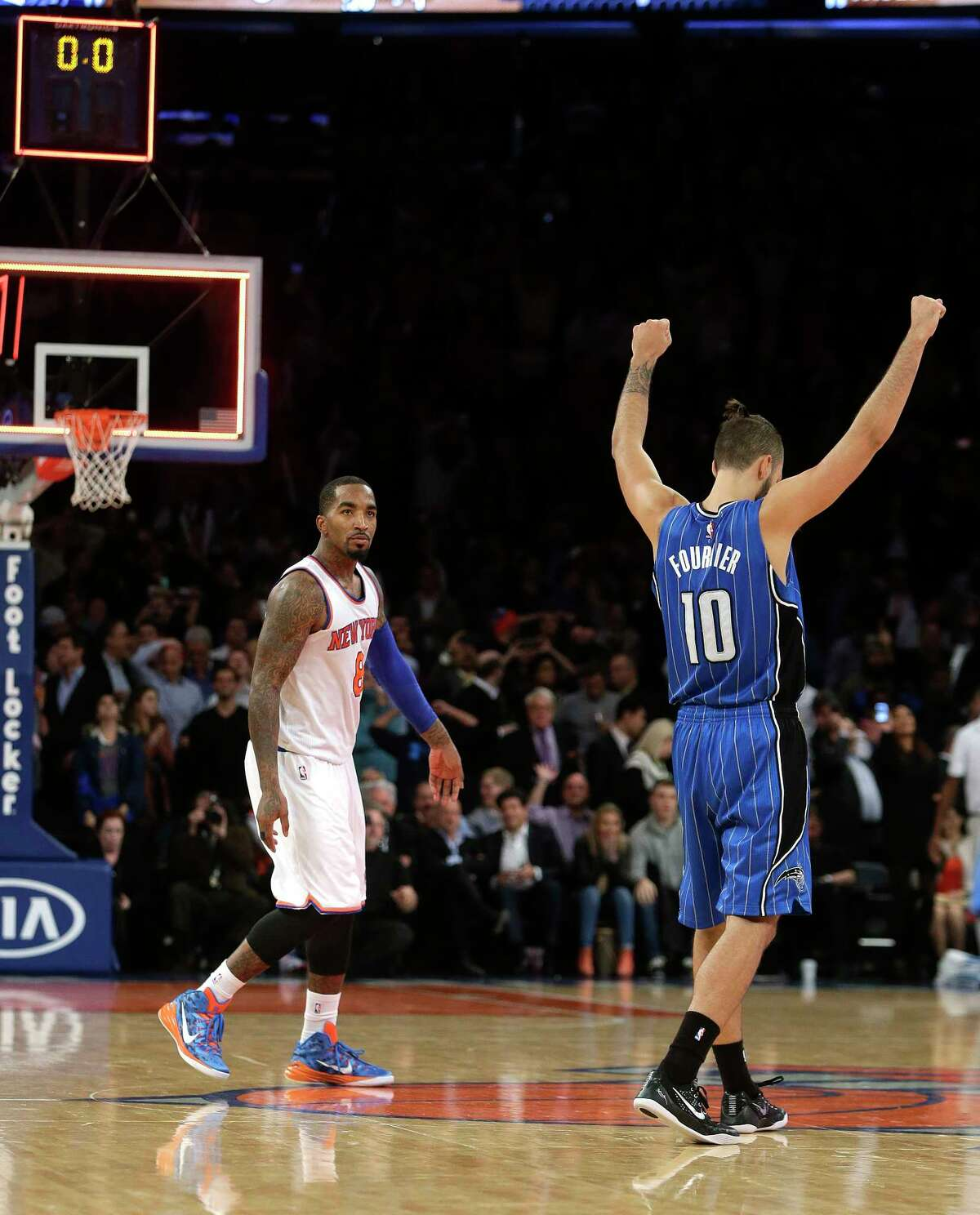Evan Fournier and the Orlando Magic defeated the Knicks 97-95 on Wednesday in New York.