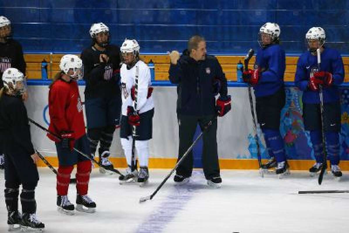 The United States women's ice hockey team practices on Feb. 3, 2014.