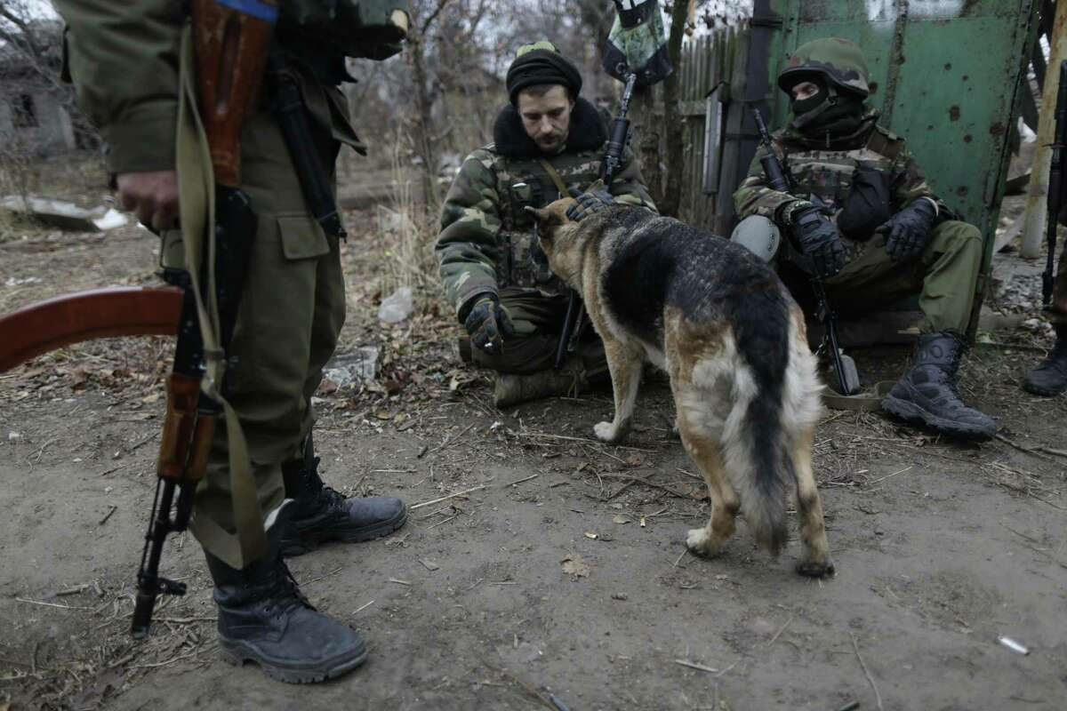 Ukrainian volunteer fighters pet a dog in the village of Peski near Donetsk, eastern Ukraine, Tuesday, Nov. 11, 2014. The cease-fire called on Sept. 5 has been violated almost daily, heightening worry about the renewal of full-scale conflict despite a cease-fire signed two months ago between Ukraine and Russia-backed separatists.