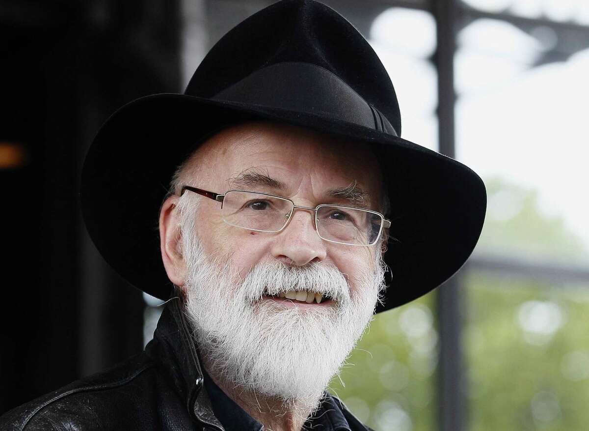 In this 2010 file photo, British author Terry Pratchett is seen at the Conservative party conference in Birmingham, England.
