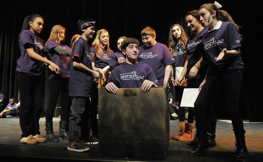 """Cast members of the Middletown Recreation & Community Services' Unified Theater during Tuesday night's dress rehearsal for """"A Day in the Life."""" Performances are Thursday and Friday at 7 p.m. at Middletown High School Performing Arts Center. Photo: Journal Register Co. / TheMiddletownPress"""