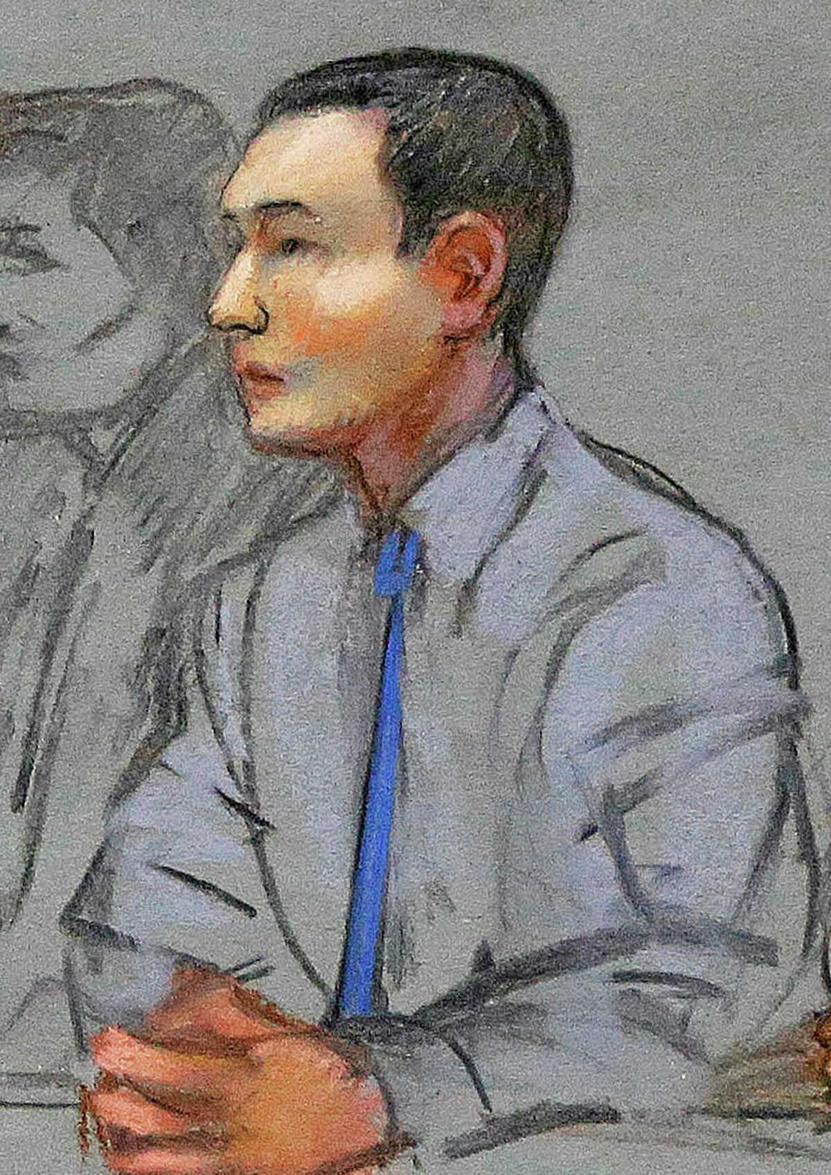 FILE - In this May 13, 2014 file courtroom sketch, defendant Azamat Tazhayakov, a college friend of Boston Marathon bombing suspect Dzhokhar Tsarnaev, sits during a hearing in federal court in Boston. (AP Photo/Jane Flavell Collins, File)