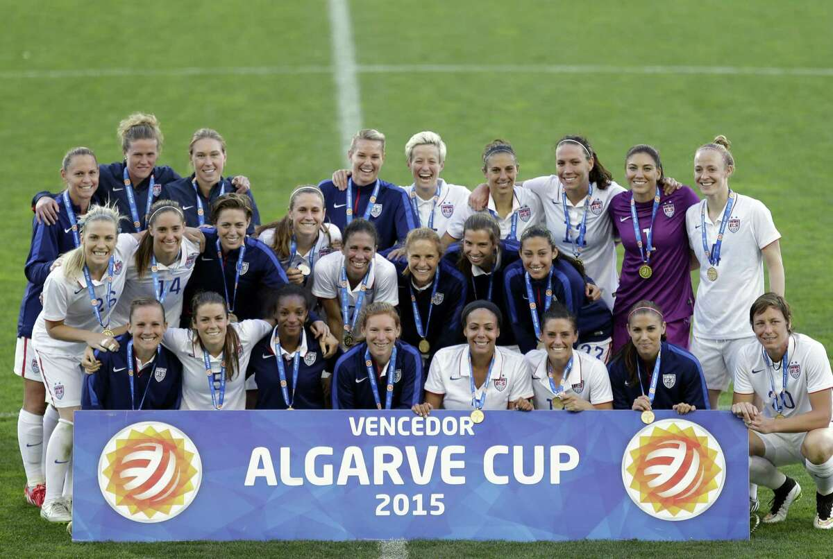 The United States team poses after winning the women's soccer Algarve Cup Wednesday in Faro, Portugal.