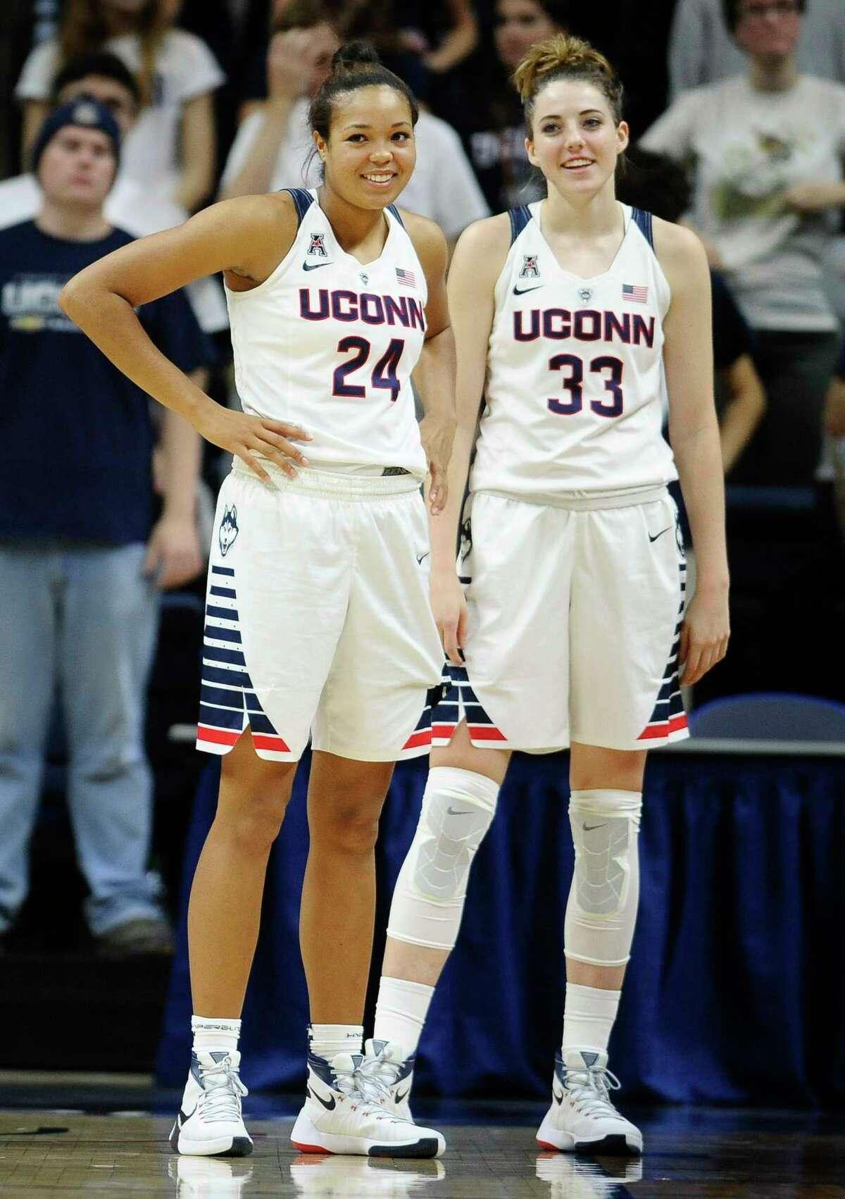 UConn's Napheesa Collier, left, and Katie Lou Samuelson.