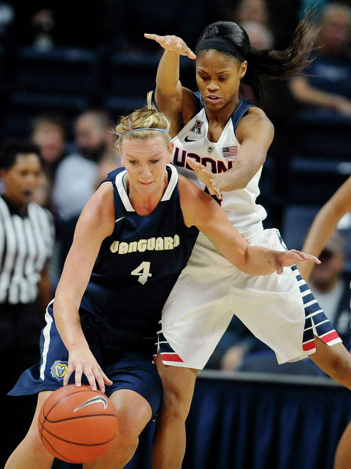 UConn's Moriah Jefferson, right, guards Vanguard's Melissa Norman during the first half Sunday.