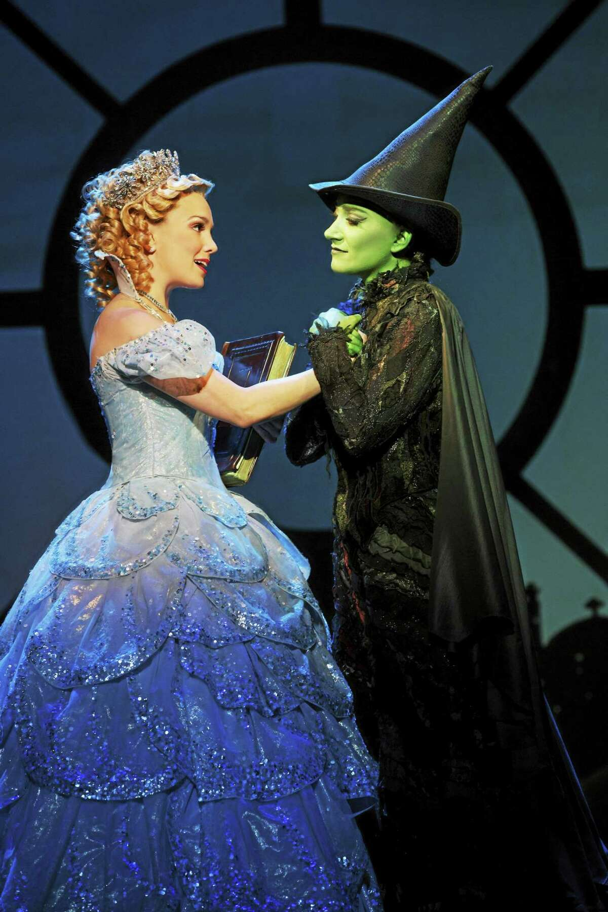 """Submitted photos - Bushnell Peforming Arts Center """"Wicked"""" stars Kara Lindsay as Glinda, a perky and bubbly girl who has an overabundance of self-esteem, and Laurel Harris as Elphaba, a feisty and independent young woman who has the distinct disadvantage of having been born green. The show is at the Bushnell Center for the Performing Arts in Hartford this month."""