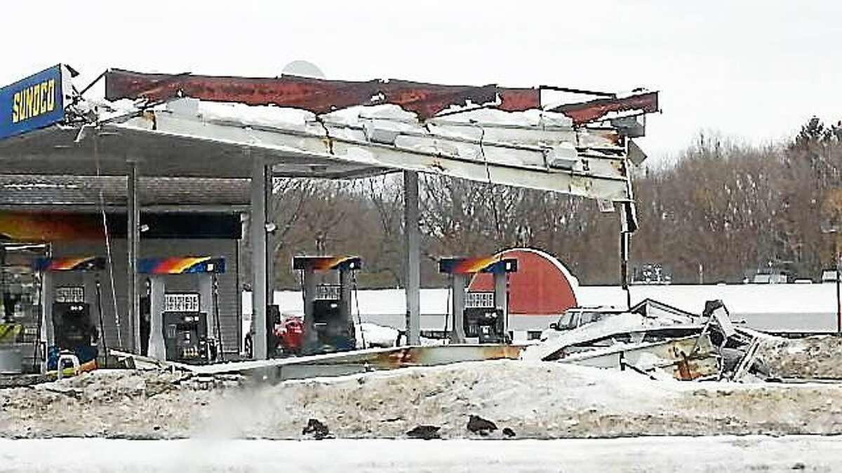 A canopy collapsed Tuesday afternoon at the the Sunoco station at 2 River Road in Wallingford. No one was hurt, but the station will be closed for a few days for repairs.